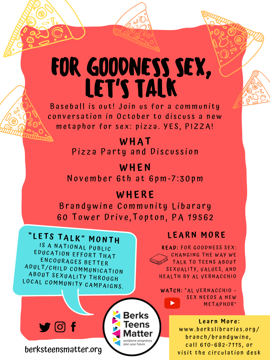 """""""For Goodness Sex, Let's Talk"""" at Brandywine Community Library"""